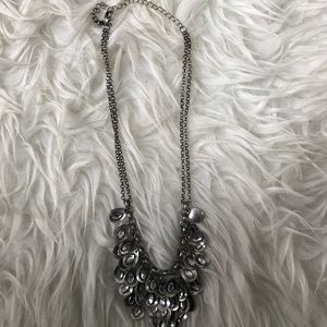 Silver Statement Necklace with White Rhinestones